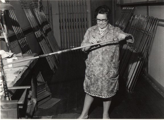 LB Bromley, worker at the Modern Arms Company, making fishing rods, sporting and air guns, 1969