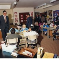 LB Bexley, Rt Hon Kenneth Baker MP at the opening of Belvedere Junior School, 1987