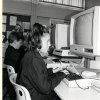LB Bexley, pupils use computers at Cleeve Park School, 1988