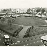 LB Hackney, Dorothy Turtle Garden, an extension of Shoreditch Park, with pre-fab housing behind, 1973