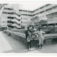 LB Haringey, young people by the Youth Association building on the Broadwater Farm estate, 1985