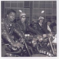 LB Brent, Cecil Richards and Father Bill Shergold outside the Ace Cafe, 1965
