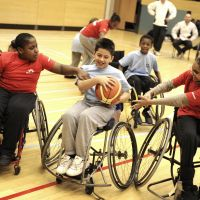 LB Hackney, young people play wheelchair basketball at Clissold Leisure Centre, 2010
