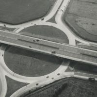 LB Hillingdon, aerial view of the M4 motorway at Sipson, 1978