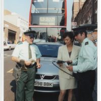 LB Haringey, Cllr Nicky Gavron with parking attendants, Wood Green, 2000