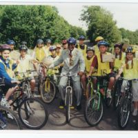 LB Haringey, children complete safe cycling training at Alexandra Palace with Mayor Cllr Herbie Brown, 2000