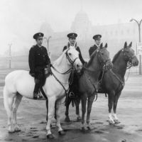 LB Brent, mounted police officers outside the old Wembley Stadium, 1969