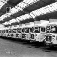 City of Westminster, fleet of refuse collection vehicles at Gatliff Road depot, 1965