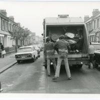 LB Haringey, refuse collectors at work, 1983