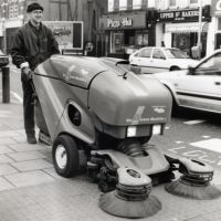 LB Islington, street cleaner using the Green Machine in Upper Street, 1996