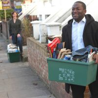LB Hackney, carrying recycling boxes on a residential street, 2006