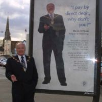 LB Havering, Mayor Cllr Denis O'Flynn promotes paying council tax by direct debit, 2002