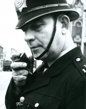LB Bexley, PC Grabham with his new personal radio, 1966